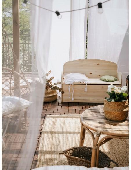 Banco baúl infantil de madera de pino