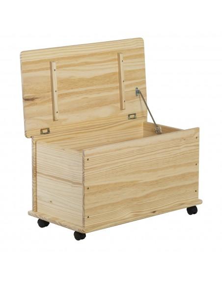 Baúl de almacenaje de madera de pino con 4 ruedas