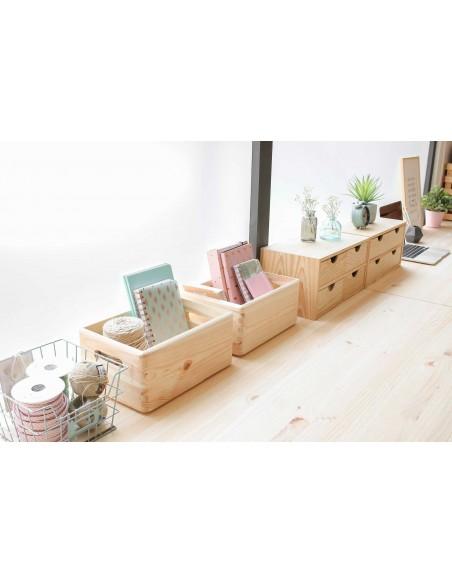 Caja de madera de pino sin tapa 7x30x40cm