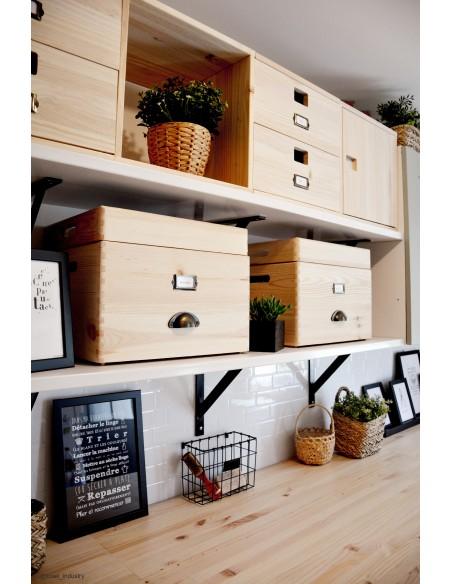 Caja de madera de pino con tapa