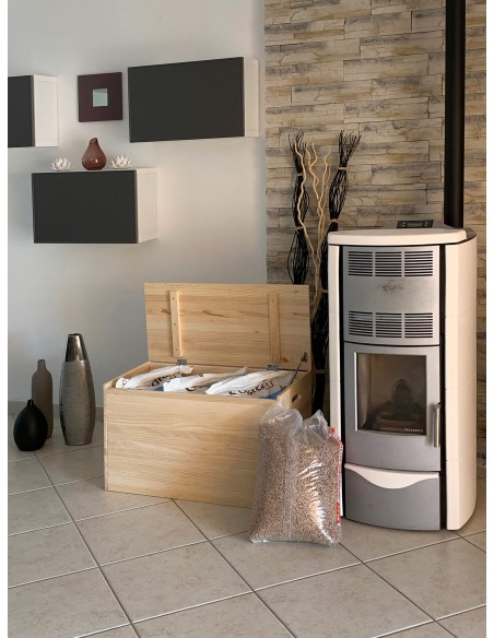 Arcón baúl de almacenaje de madera de pino