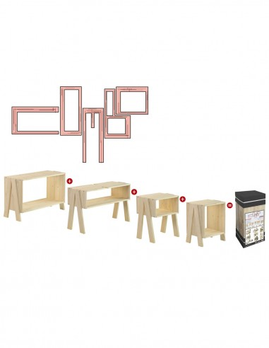 Estantería multifuncional de 4 módulos de madera de pino