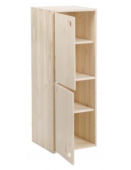 Armario vertical de 2 puertas de madera de pino
