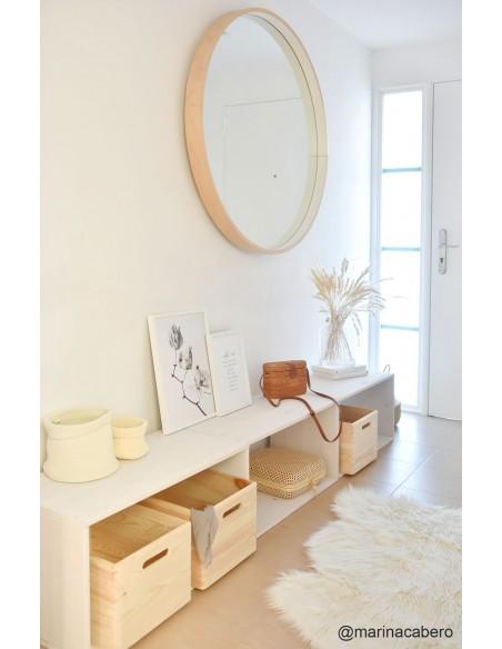 Estantería rectangular con balda de madera de pino