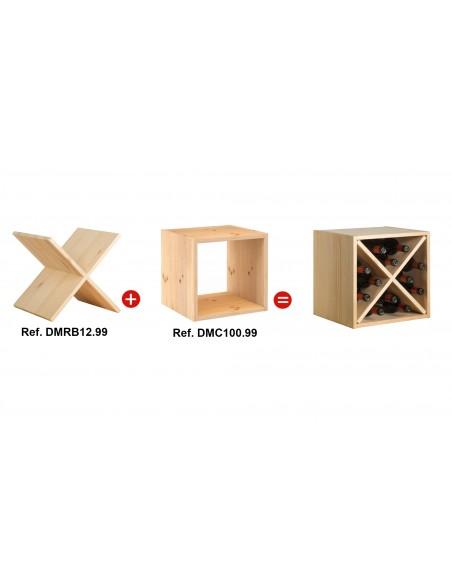 Accesorio aspa de madera de pino para estantería modula