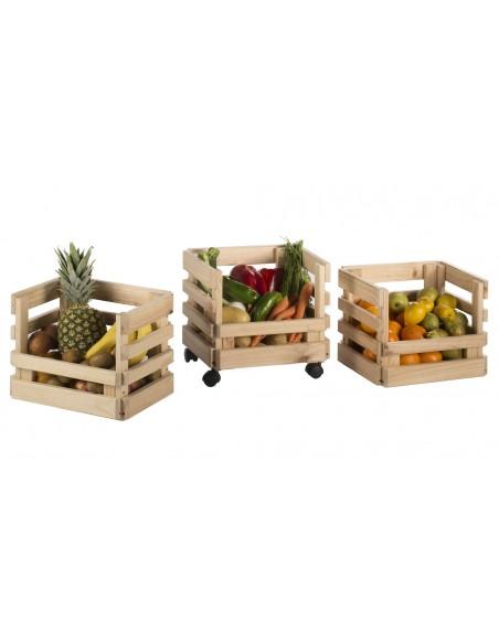 Carrito con tres cajas apilables de madera de pino Evolution