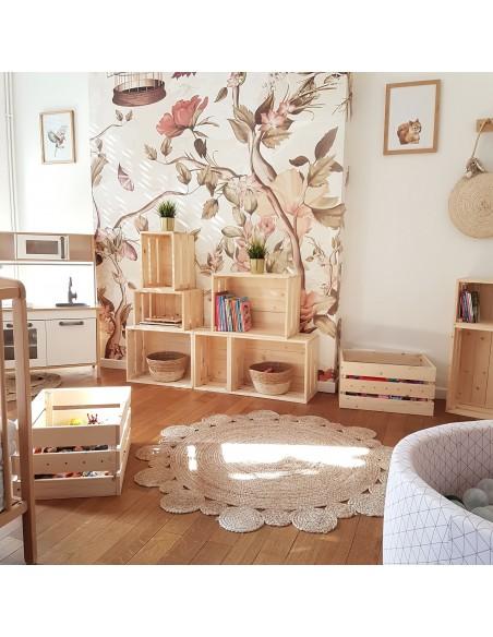 Caja mediana Homebox de madera de pino encajable y apilable