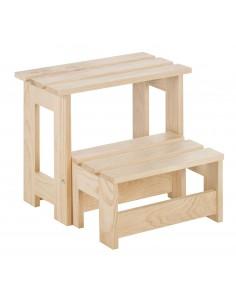 Taburete escalera plegable de madera de pino con 2 peldaños