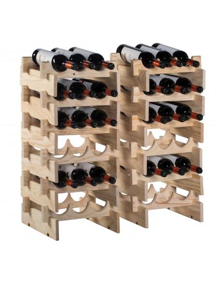 Botellero apilable Merlot de madera de pino para 6 botellas