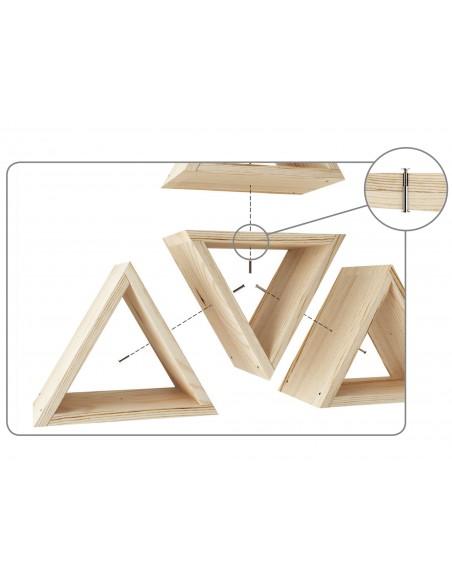 Estante evolutivo Prisma de madera de pino multifuncional como estante o botellero