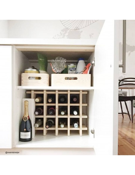 Botellero modular y evolutivo Rioja de madera de pino para 9 botellas