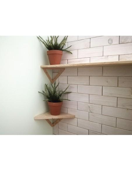 Estante esquinero y triangular de madera de pino 25x25 cm