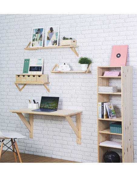 Mesa de pared de madera para espacios pequeños