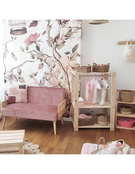 Perchero de ropa Evolution de madera macizo de pino con 2 baldas