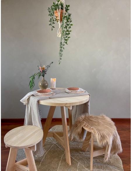 Tablero de mesa redondo de madera de pino