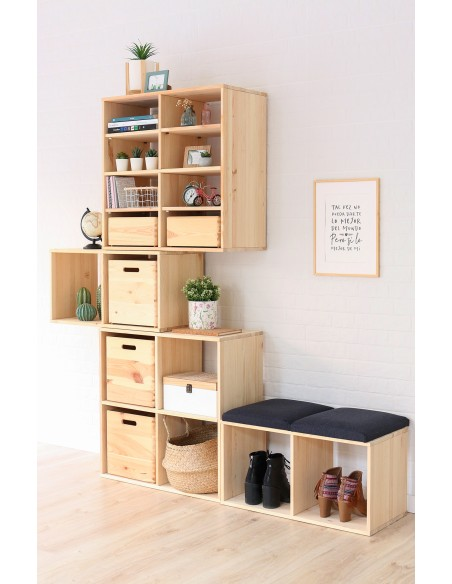 Estantería modular Dinamic con 5 cubos de madera de pino