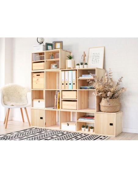 Estantería modular Dinamic con 4 cubos de madera de pino