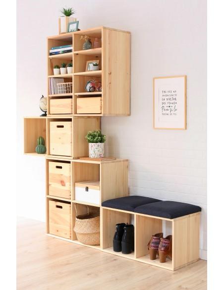 Estantería modular Dinamic con 2x2 cubos de madera de pino