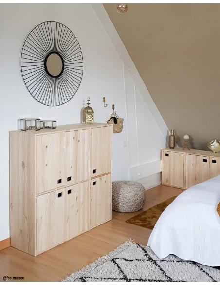 Armario de 1 puerta de madera de pino con 2 baldas