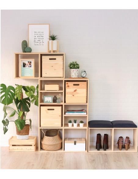 Caja de madera de pino sin tapa 30x30x30cm