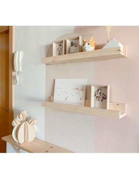 Estante para cuadros de madera de pino 60 cm