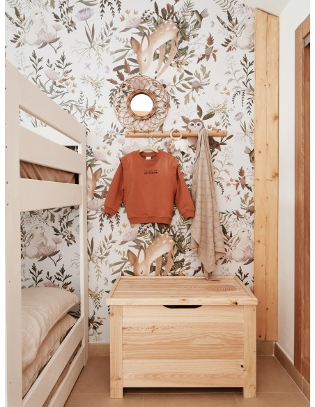 Baúl de almacenaje de madera de pino con patas cuadradas
