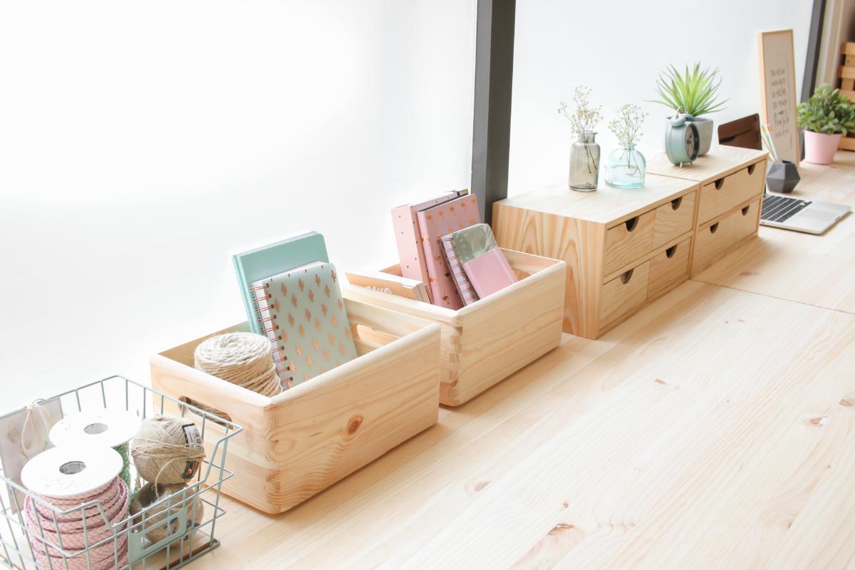 cajas y mini cajoneras de madera maciza de pino